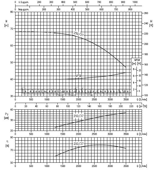 Máy bơm nước Ebara MMD 80-250 biểu đồ lưu lượng