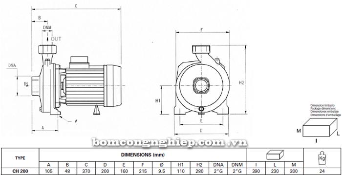 Máy bơm lưu lượng Pentax CH 200 bảng thông số kích thước