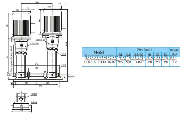 Bơm trục đứng CNP CDLF 16-12 bảng thông số kích thước