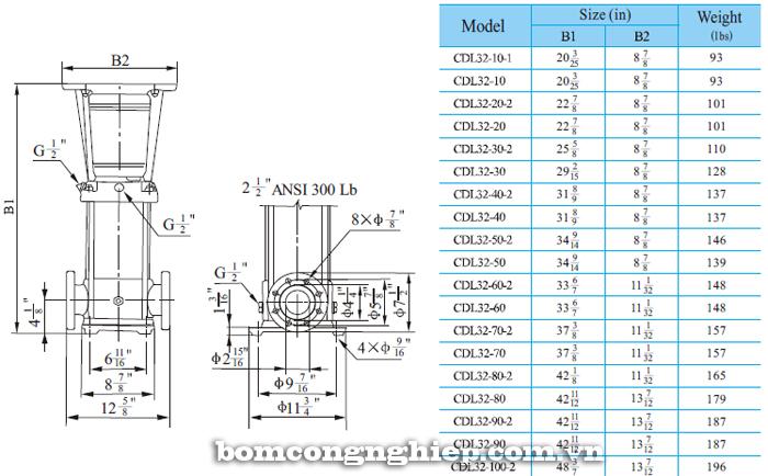 Bơm trục đứng CNP CDLF 32 bảng thông số kích thước