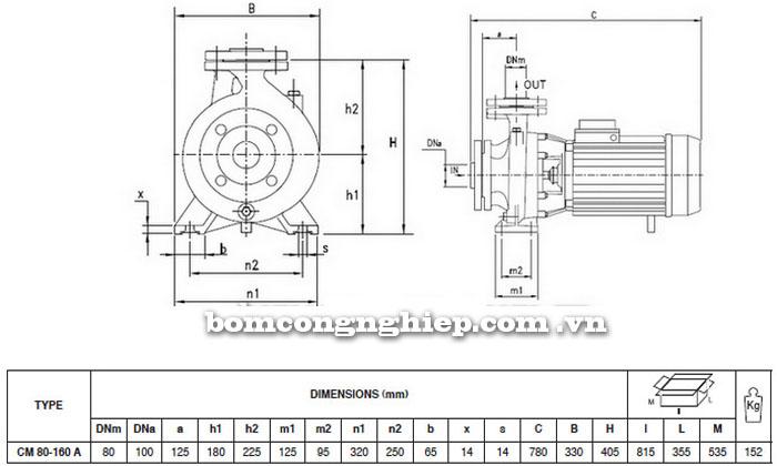 Máy bơm nước Pentax CM 80-160A bảng thông số kích thước