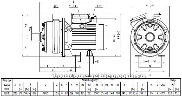 Máy bơm nước Ebara 2CDX 120/15 bảng thông số kích thước