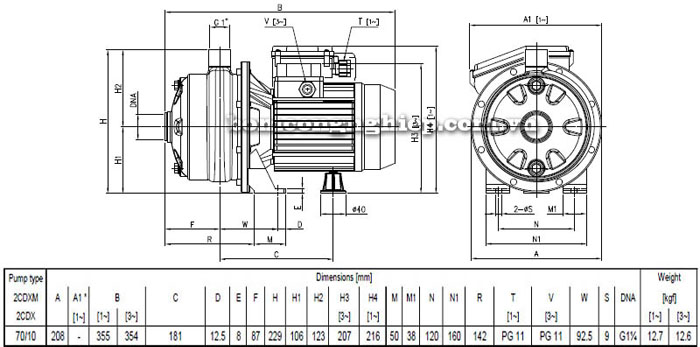 Máy bơm nước Ebara 2CDX 70/10 bảng thông số kích thước