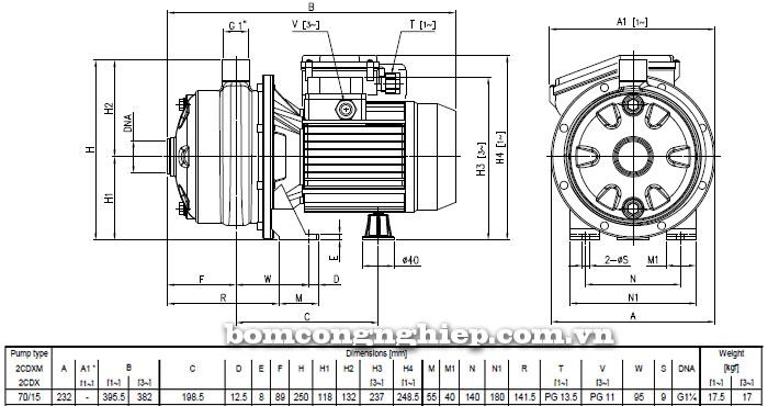 Máy bơm nước Ebara 2CDX 70/15 bảng thông số kích thước