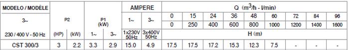 Máy bơm nước Pentax CST 300/3 bảng thông số kỹ thuật