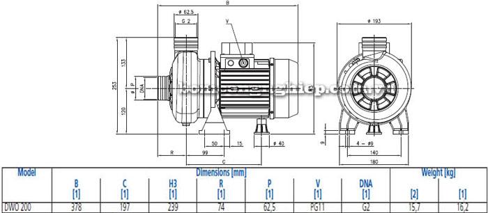 Máy bơm nước thải cạn Ebara DWO 200 bảng thông số kích thước