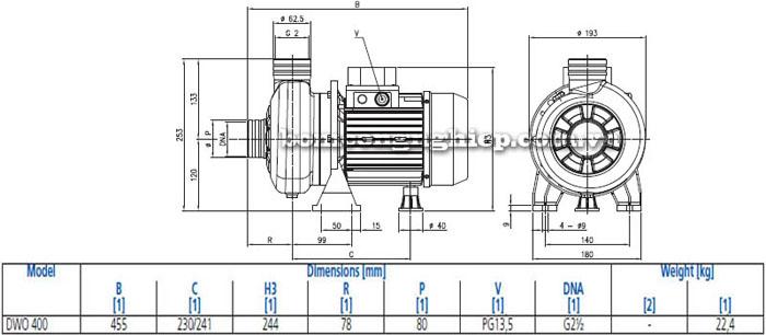 Máy bơm nước thải cạn Ebara DWO 400 bảng thông số kích thước