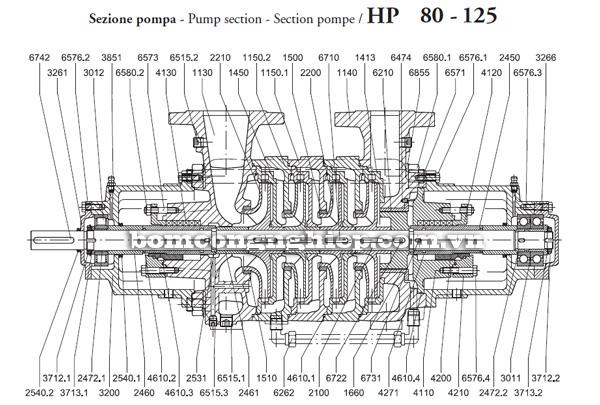 Máy bơm nước Pentax HP mặt cắt kỹ thuật