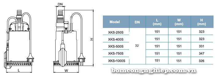 Bơm chìm nước thải LEO XKS-250S bảng thông số kích thước