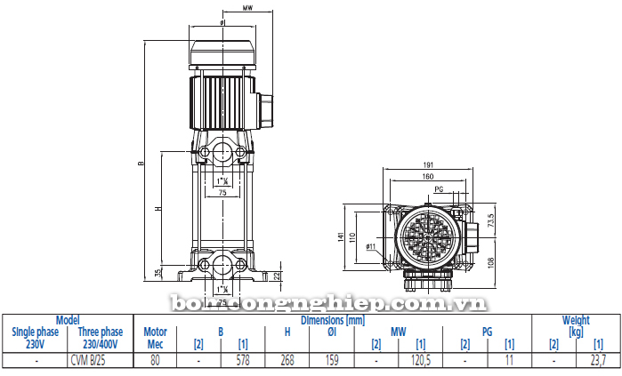 Bơm trục đứng Ebara CVM BM/25 bảng thông số kích thước