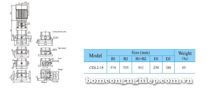 Máy bơm trục đứng CNP CDLF 2-18 bảng thông số kích thước