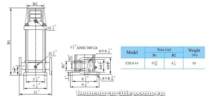 Máy bơm trục đứng CNP CDLF 8-14 bảng thông số kích thước