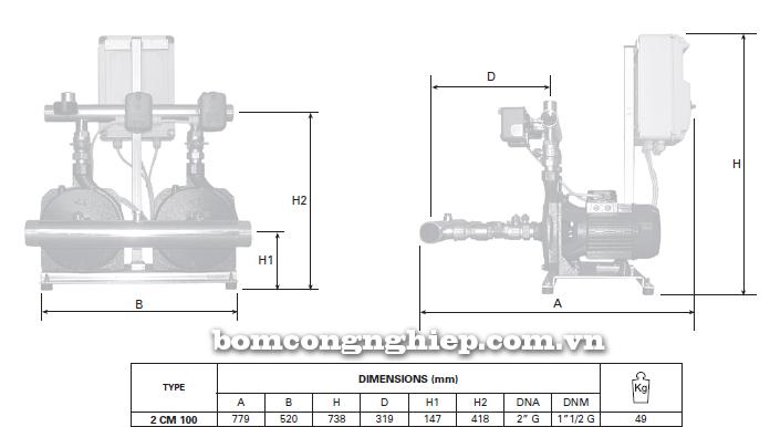 Pentax BOOSTER 2CM 100 bảng thông số kích thước