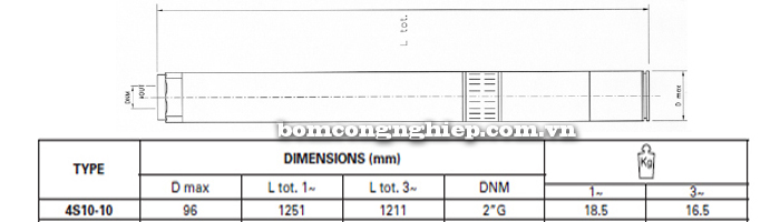 Bơm chìm giếng khoan Pentax 4S 10-10 bảng thông số kích thước