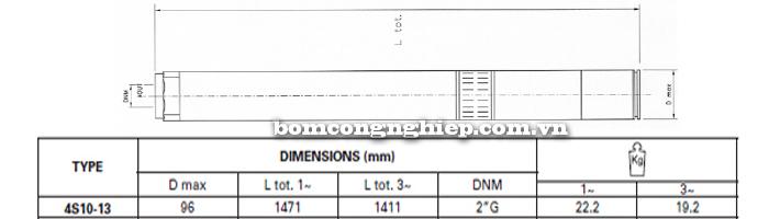 Bơm chìm giếng khoan Pentax 4S 10-13 bảng thông số kích thước
