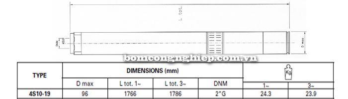 Bơm chìm giếng khoan Pentax 4S 10-19 bảng thông số kích thước