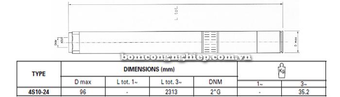 Bơm chìm giếng khoan Pentax 4S 10-24 bảng thông số kích thước