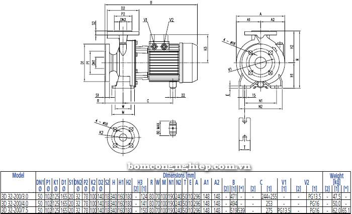 Bơm công nghiệp Ebara 3D 32-200 bảng thông số kích thước