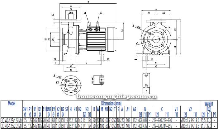 Bơm công nghiệp Ebara 3D 40-125 bảng thông số kích thước