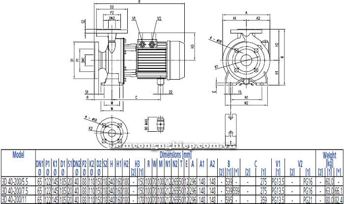 Bơm công nghiệp Ebara 3D 40-200 bảng thông số kích thước