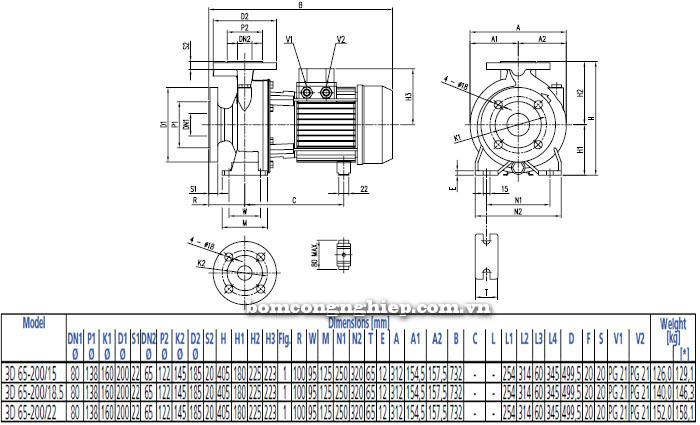 Bơm công nghiệp Ebara 3D 65-200 bảng thông số kích thước