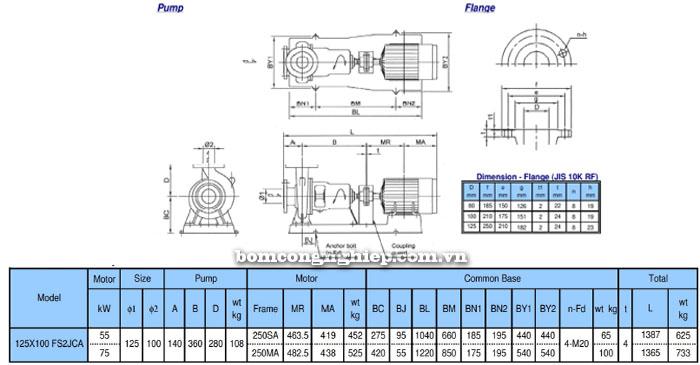 Bơm trục rời Ebara FSA 125x100 bảng thông số kích thước