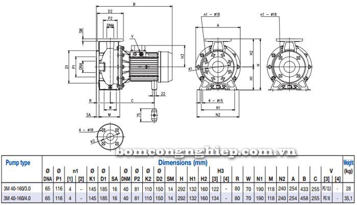 Máy bơm Ebara 3M 40-160 bảng thông số kích thước