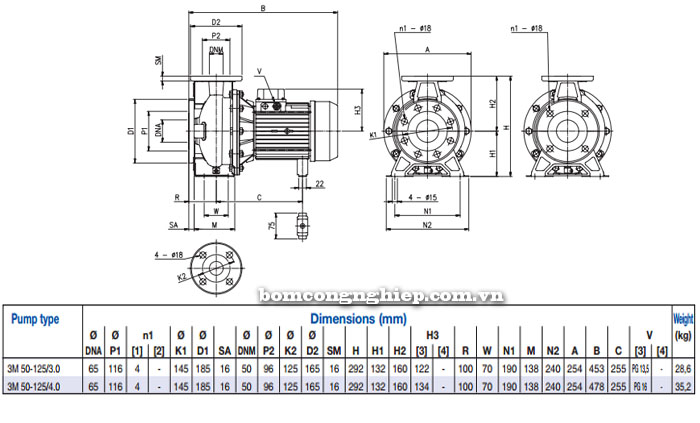 Máy bơm Ebara 3M 50-125 bảng thông số kích thước