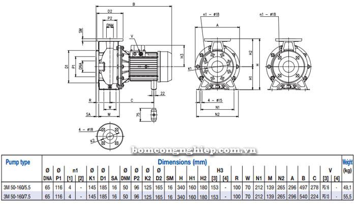 Máy bơm Ebara 3M 50-160 bảng thông số kích thước