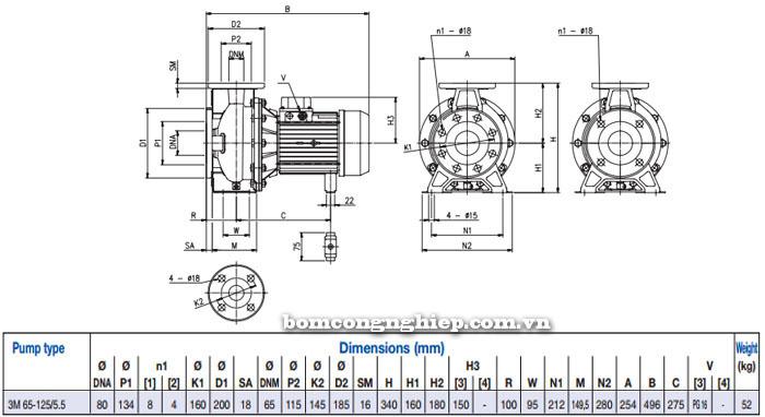 Máy bơm Ebara 3M 65-125 bảng thông số kích thước