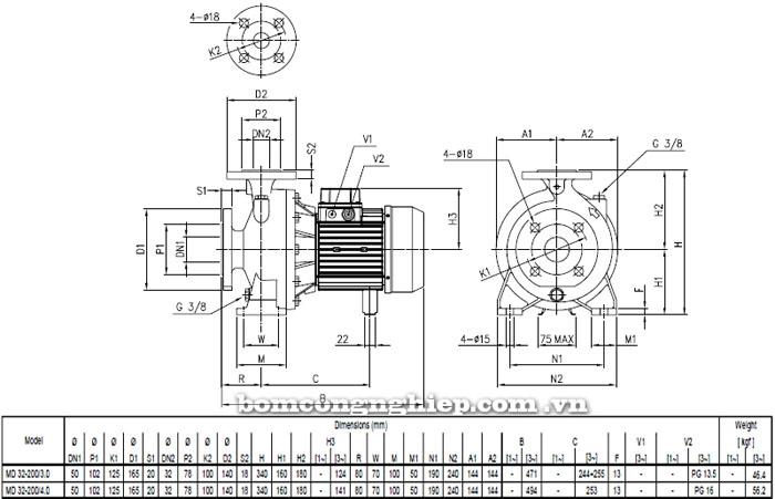 Máy bơm nước EBARA MD 32-200 bảng thông số kích thước
