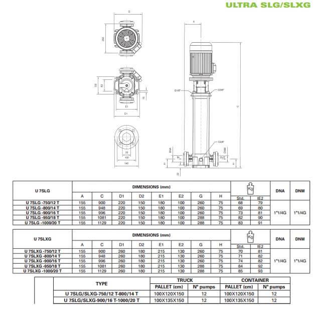 Máy bơm trục đứng Pentax U7 SLG/SLXG