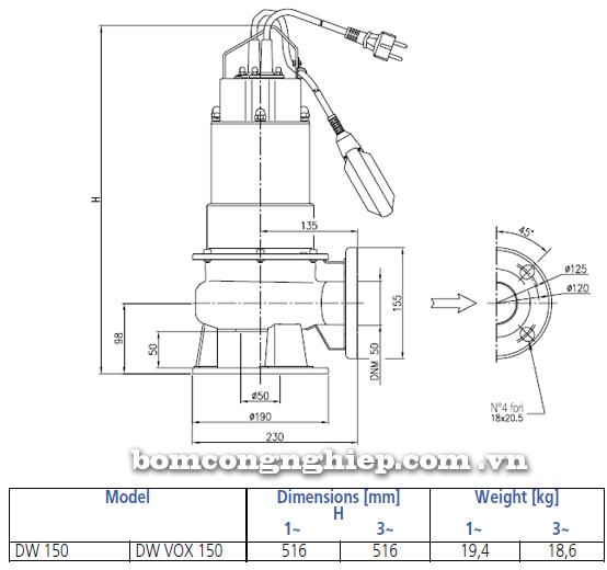 Máy bơm nước thải Ebara DW VOX 150