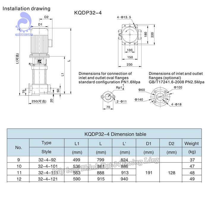 Máy bơm trục đứng Kaiquan KQDP32-4-121