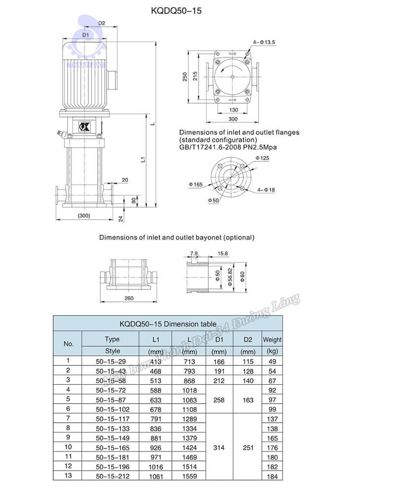 Máy bơm trục đứng Kaiquan KQDP/KQDQ 50-15