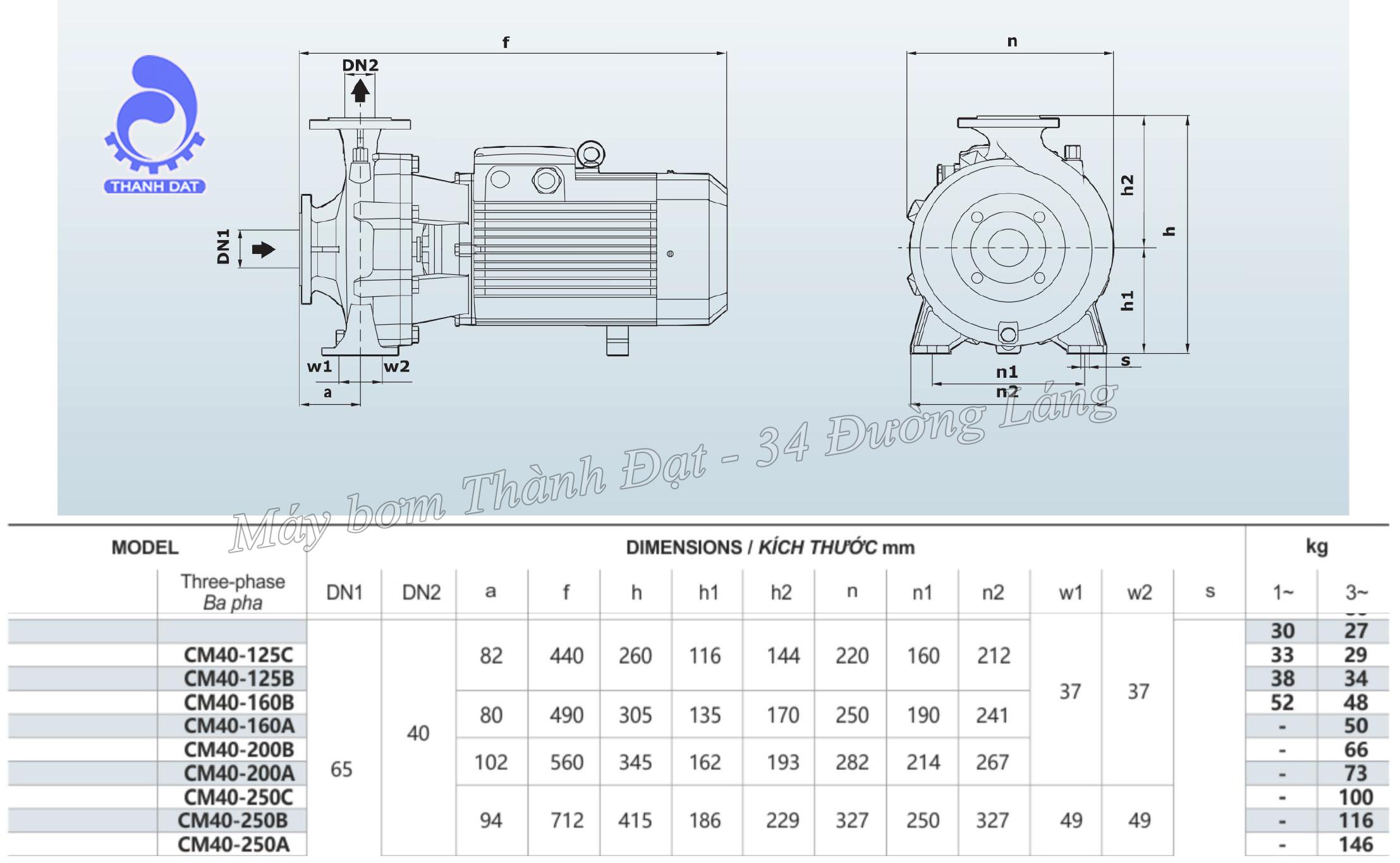 Máy bơm công nghiệp Inter CM 40-200A 10HP