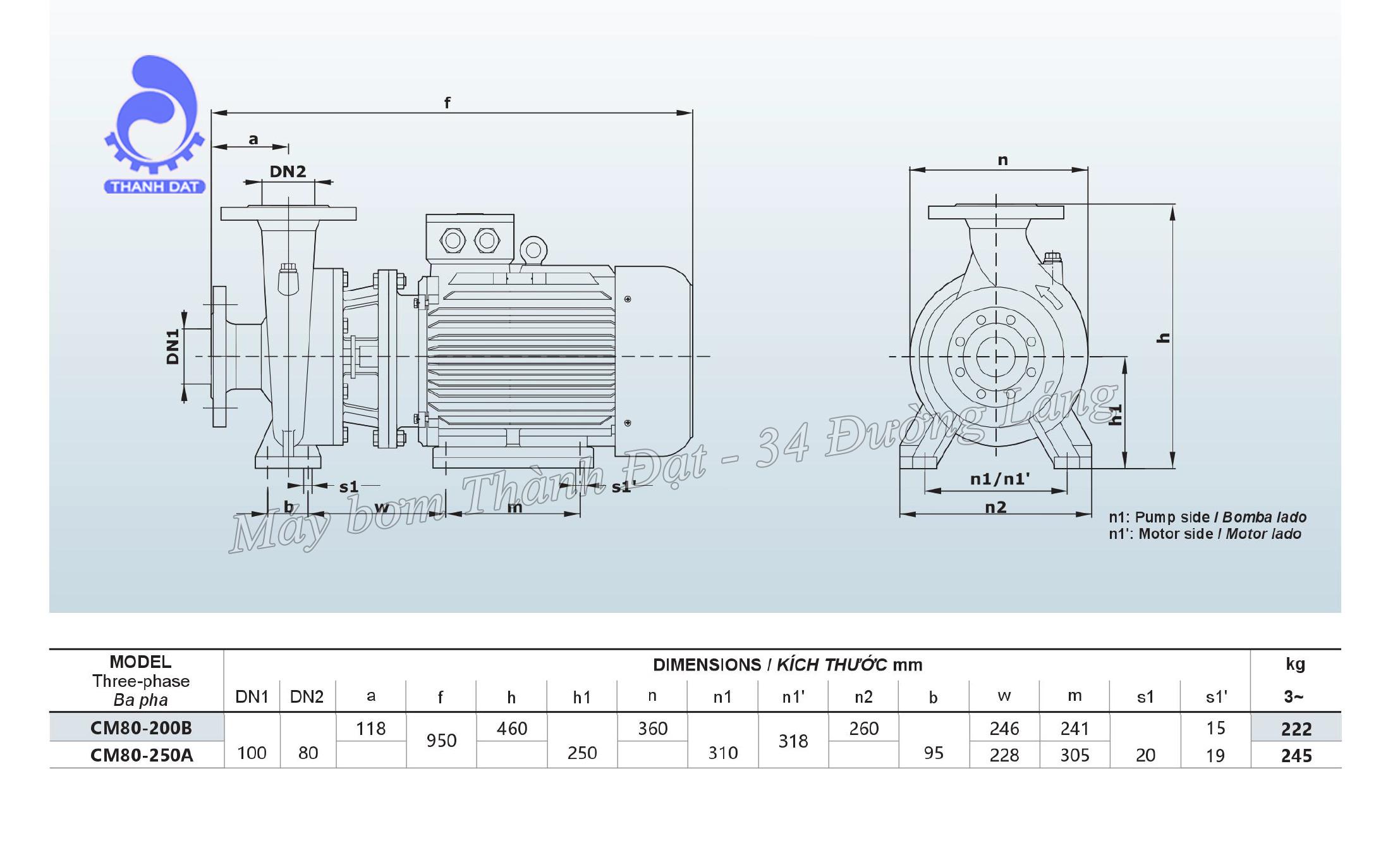 Máy bơm nước Inter CM 80-200A 50HP