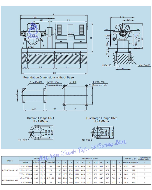 Máy bơm hai cửa hút Kaiquan KQSN350-M20S/289 75kW
