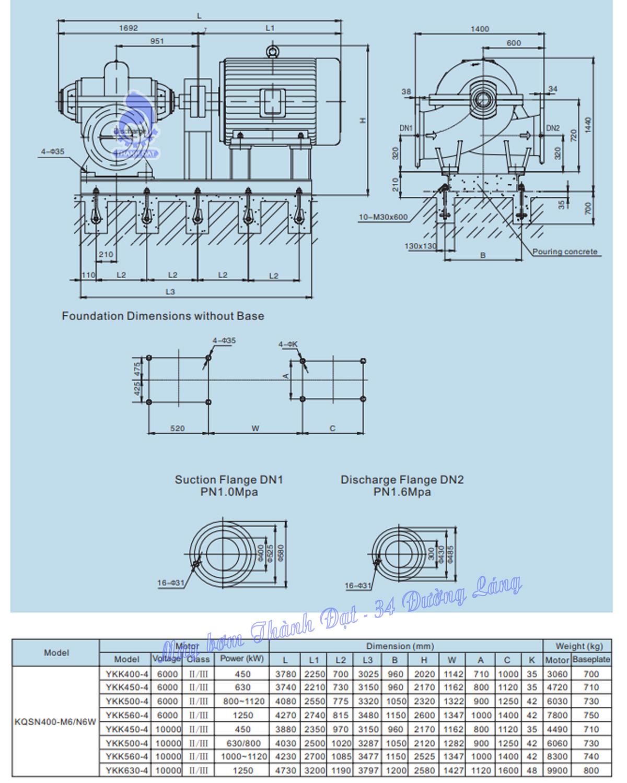 Máy bơm hai cửa hút Kaiquan KQSN400-M6W/675 1000kW